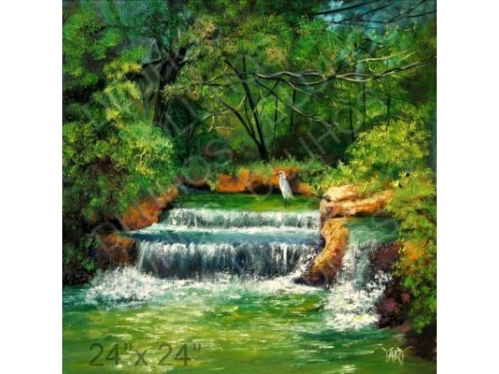 Wading for Fish - waterfall, wildlife landscape