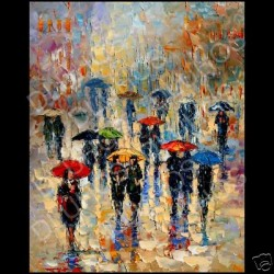 Andre Dluhos Art Limited Edition Canvas Print Giclee City Rain Umbrella New York