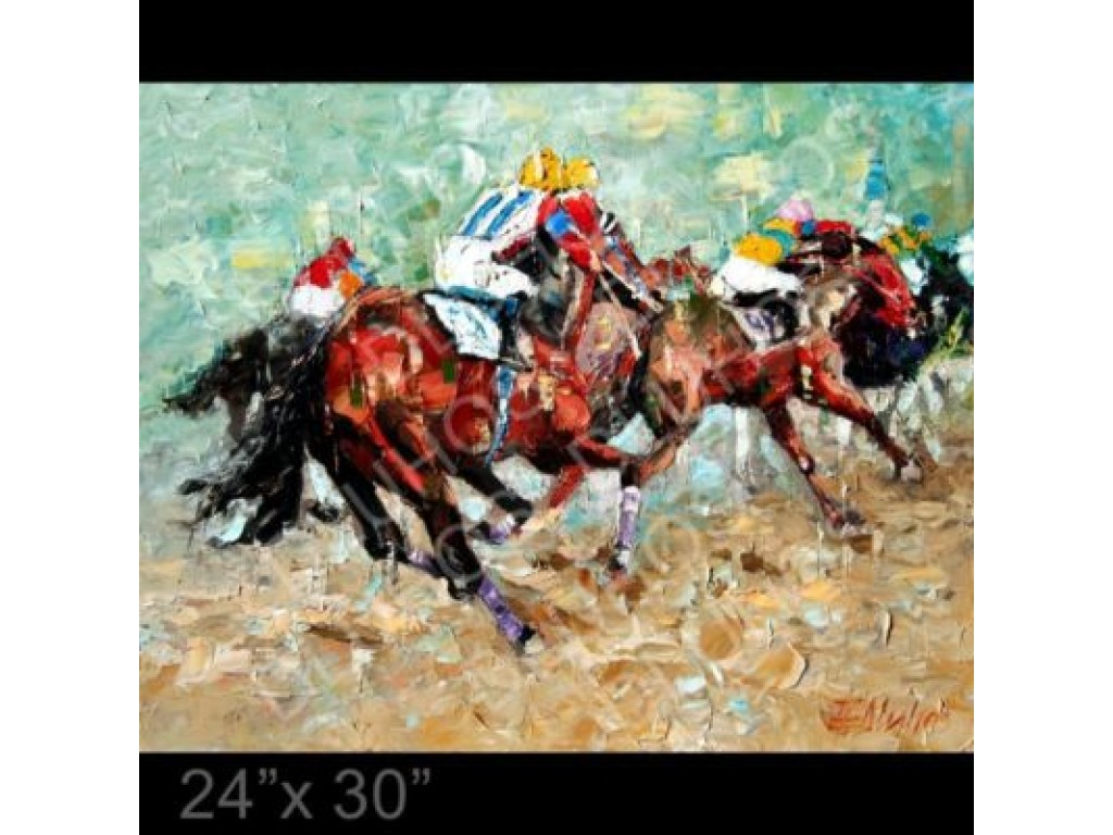 """""""Last Turn For The Stretch"""" - thoroughbred horse race"""