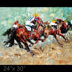 """Last Turn For The Stretch"" - thoroughbred horse race"