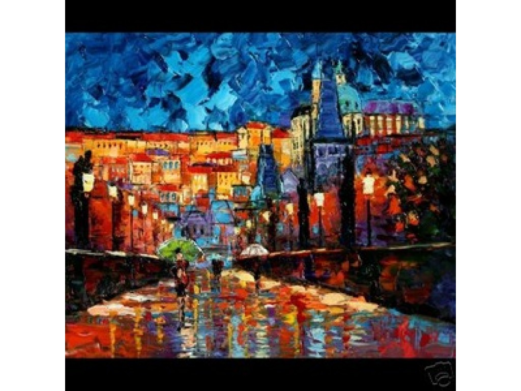 "3. ""Lights Along Charles Bridge"" - canvas"