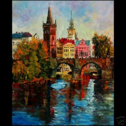 Dluhos Le Print Prague City Autumn Charles Bridge River