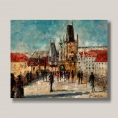 Crossing Charles Bridge In Prague - Europe cityscape original oil painting