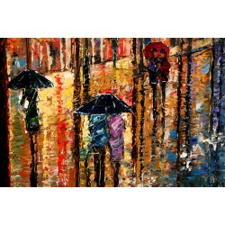 Main Street Rain - city night umbrellas