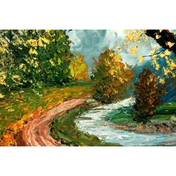 Path by the River - landscape, river trees
