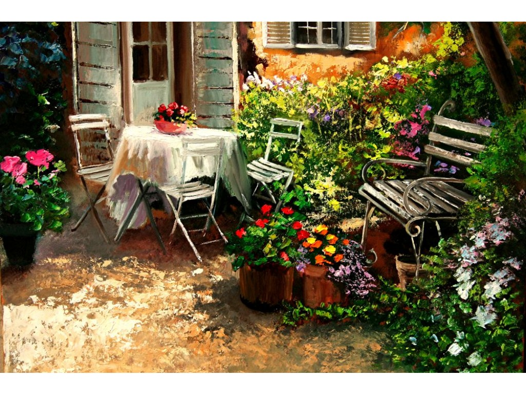Asseoir dans le jardin garden patio table fragrant flowers for Jardin 00 garden
