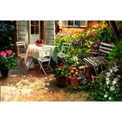 """Asseoir Dans Le Jardin"" -  garden patio table fragrant flowers"