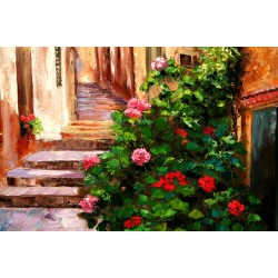 Geraniums In Liguria - Italian village alley with flowers
