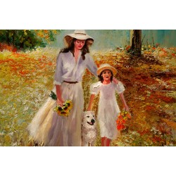 """Handful of Sunshine""  -  mother, child and dog with garden flowers"