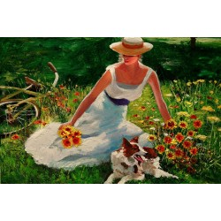 """Spring Rest"" - garden meadow figure flowers dog and bicycle"