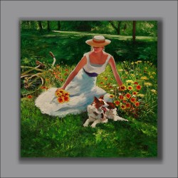 """""""Spring Rest"""" - garden meadow figure flowers dog and bicycle"""